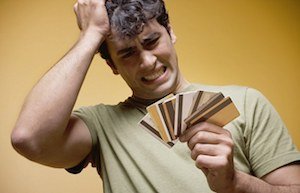 Man worried with credit cards